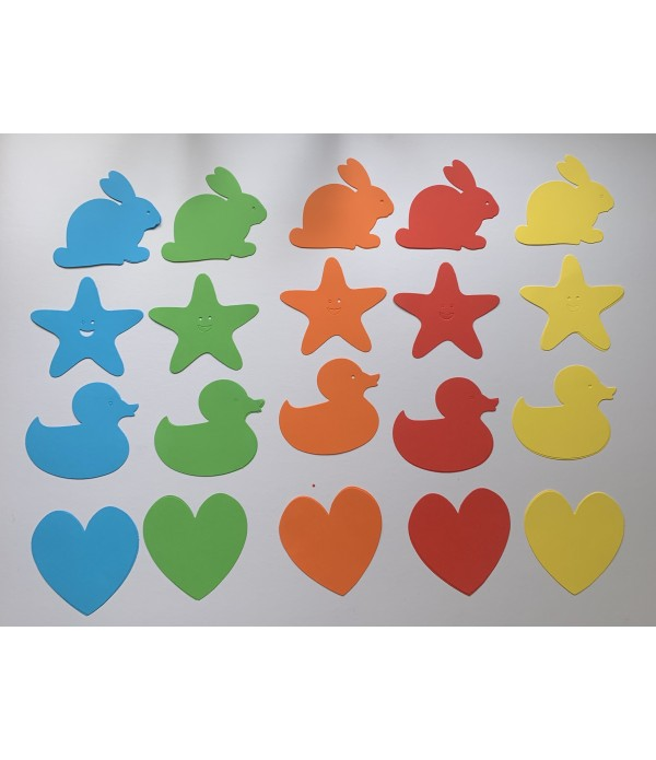 Duck, Heart, Rabbit, Star - Cut Out Shapes