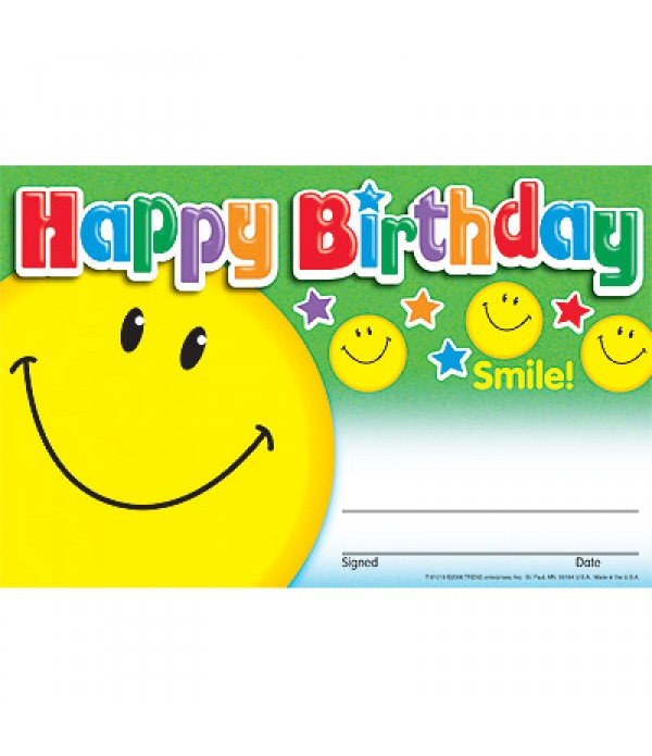 Award Certs Happy Birthday Smiles