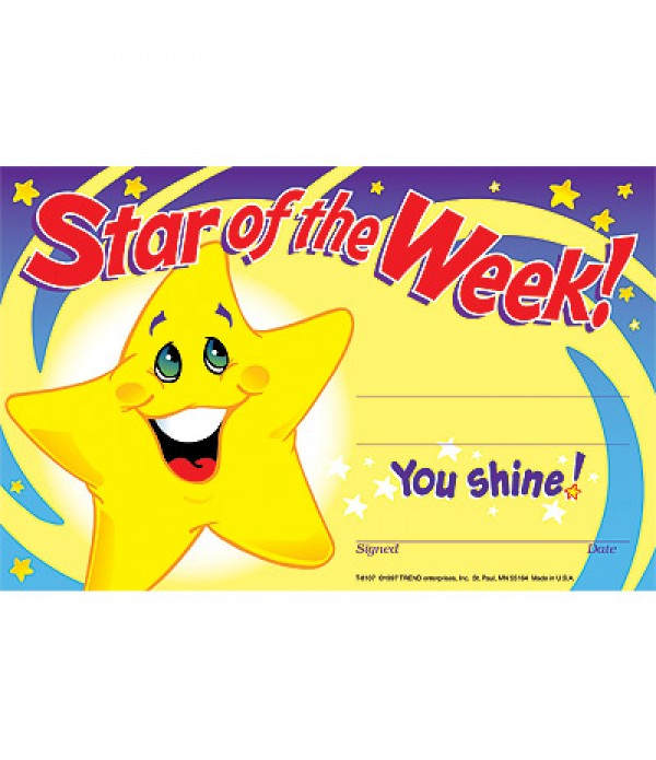 Award Certs Star of The Week
