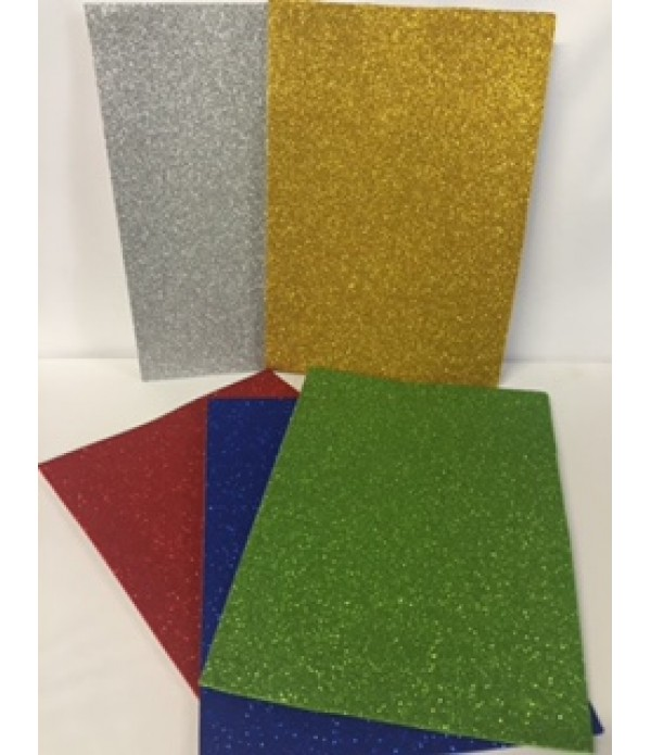 Foam Sheets A4 Glitter Pack of 5