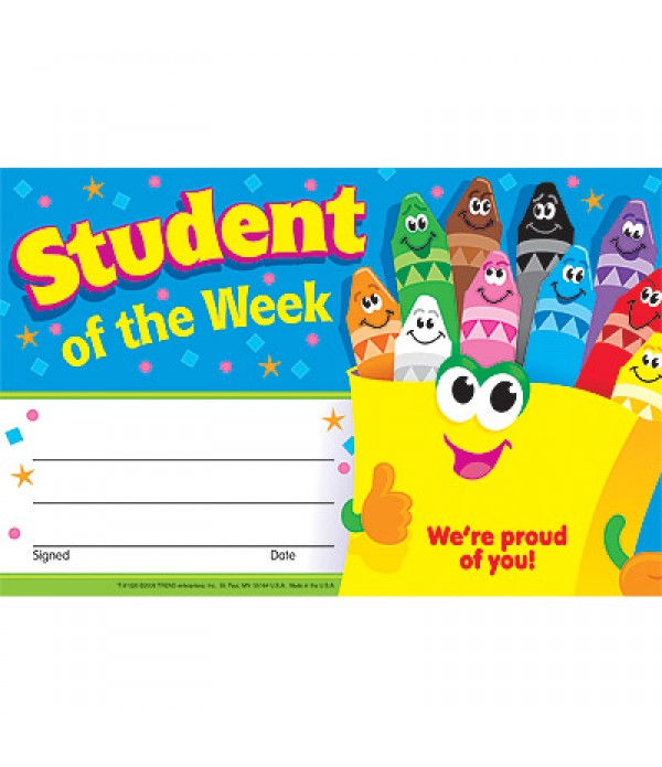 Award Certs Student Of The Week