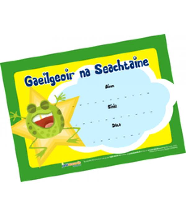 Award Certs Gaelgeoir na Seachtaine (Frog)