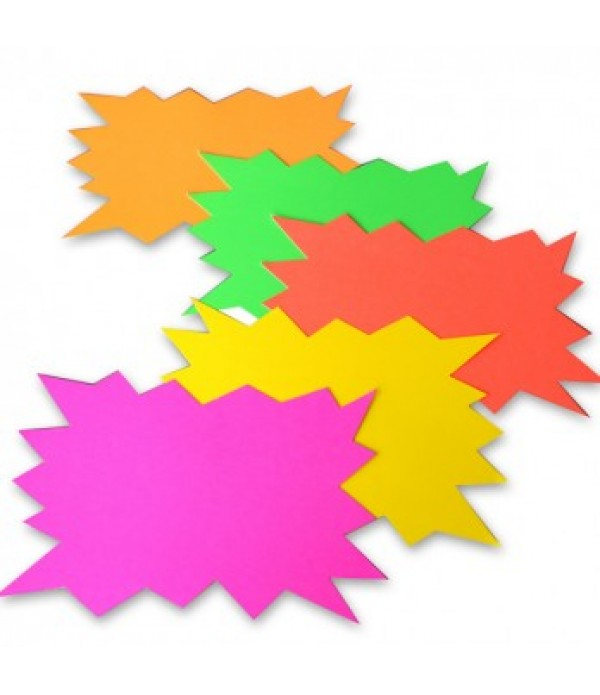 Flourescent Word Stars A4 Pack of 5