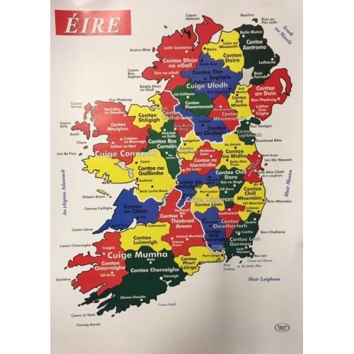 Map Of Ireland As Gaeilge.Poster Map Of Ireland Gaeilge