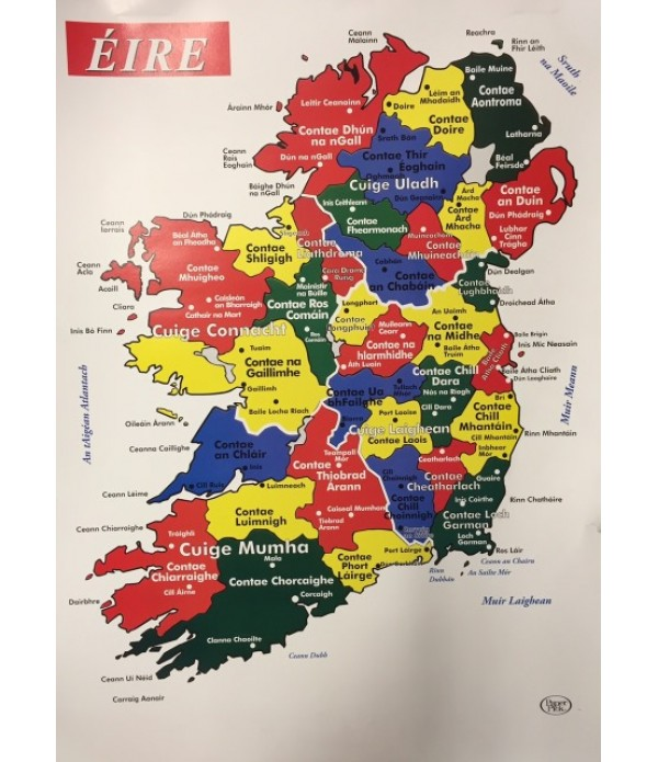 The Map Of Ireland.Map Of Ireland In Irish Poster Map Of Ireland Gaelige The